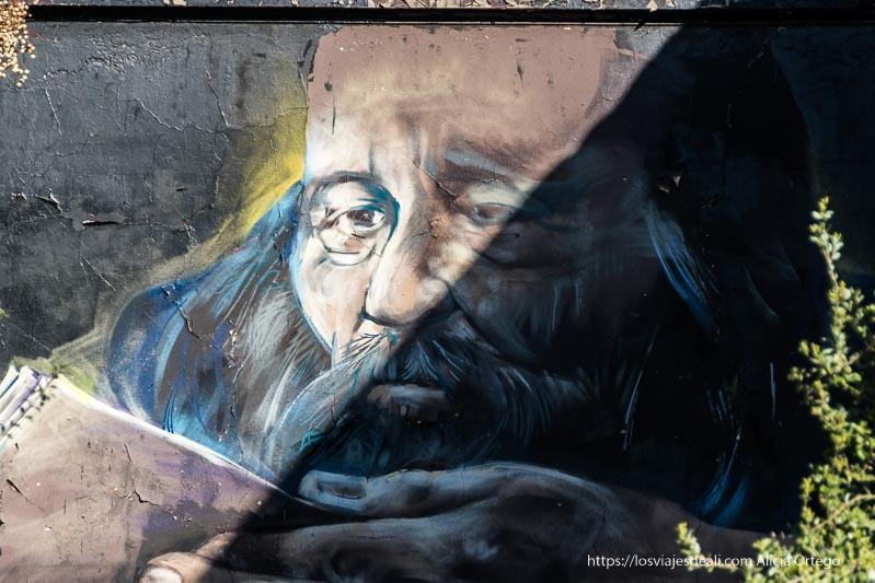 mural callejero de un hombre mayor leyendo en barrio brasil de santiago de chile