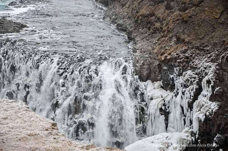 detalle de cascada con partes congeladas triángulo dorado de islandia