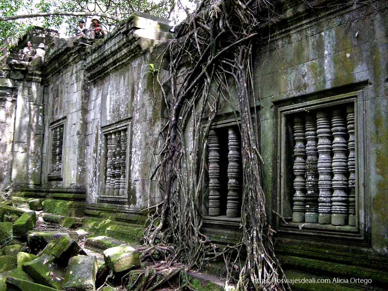 palacio de beng mealea con ventanas con barrotes torneados y enredaderas alrededor