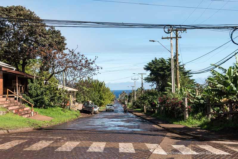 calle de hanga roa con cables, mucha vegetación tropical y mar al fondo cómo es viajar a Isla de Pascua