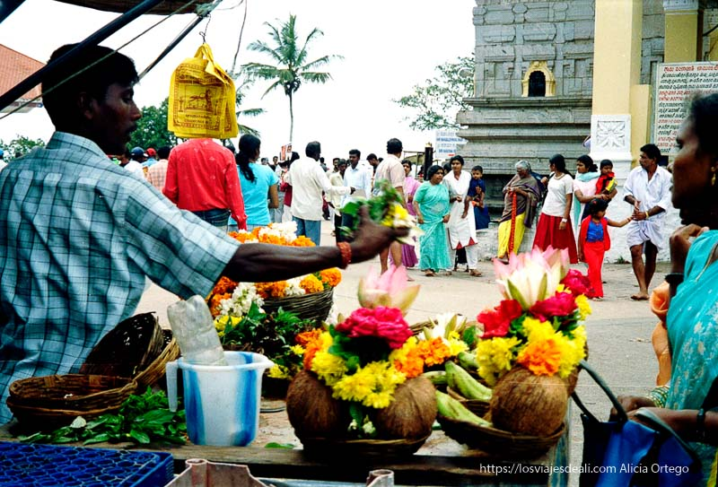 puesto de ofrendas de cocos y flores en mysore