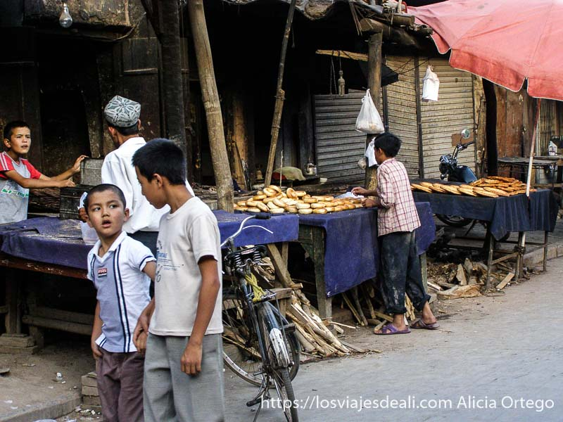 panadería de kashgar en la ruta de la seda