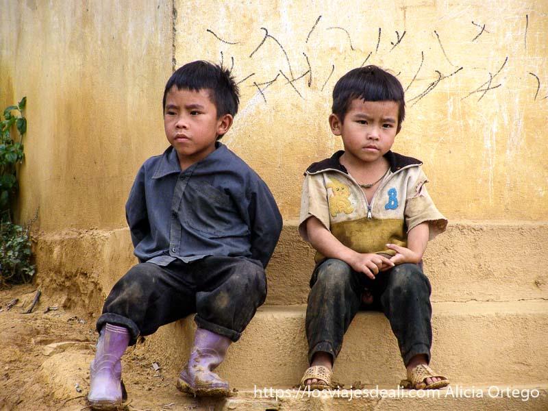 dos niños mellizos sentados en una escalera en el norte de vietnam