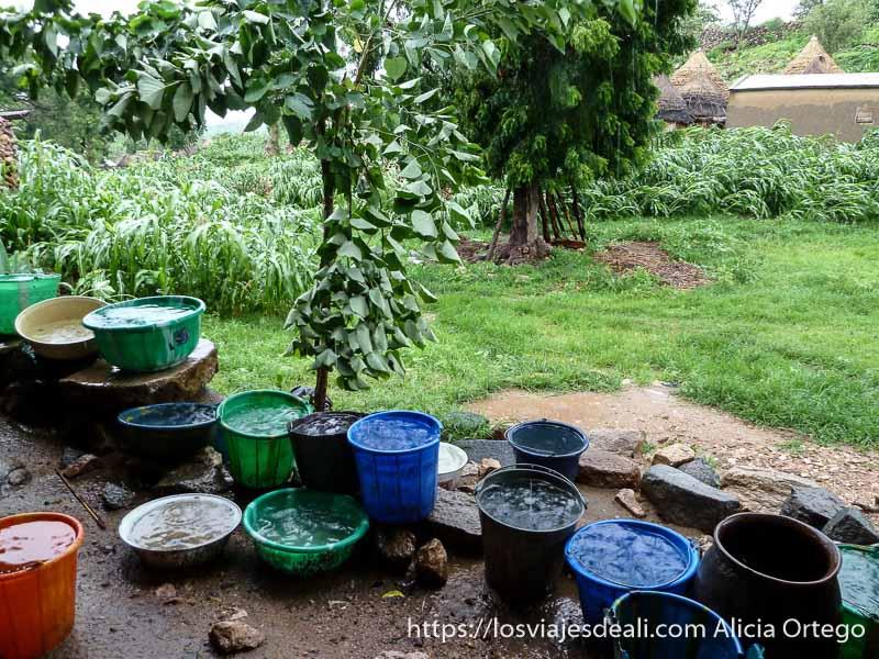 un montón de cubos y barreños de plástico recogiendo agua de lluvia trekking en los montes mandara de camerún