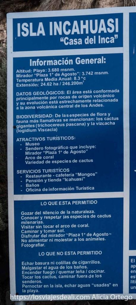 cartel de la isla incahuasi con las normas
