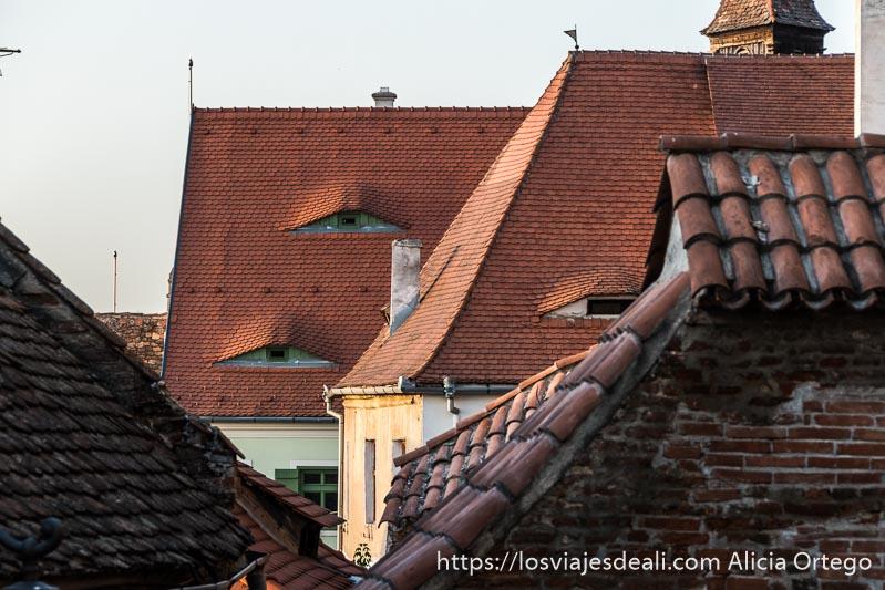 tejados rojos de sibiu con ventanas que parecen ojos