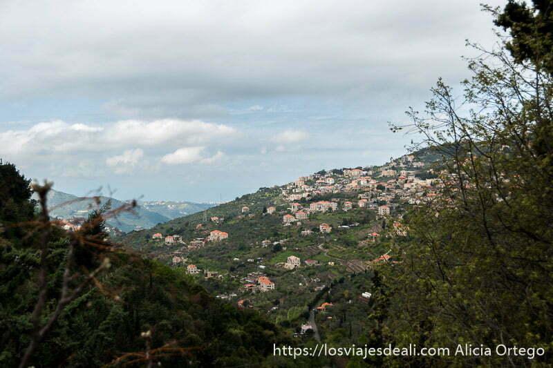 vistas de la montaña con pueblo de casas con tejados rojos desde el palacio de beiteddine en líbano