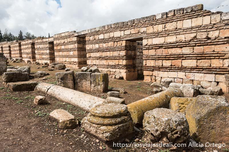 hilera de tiendas con su puerta en las ruinas de aanjar en el valle de bekaa