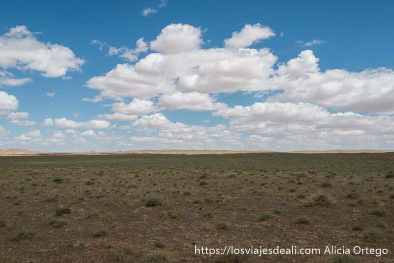 estepa inmensa muy llana del desierto del gobi con nubes blancas sobre cielo azul