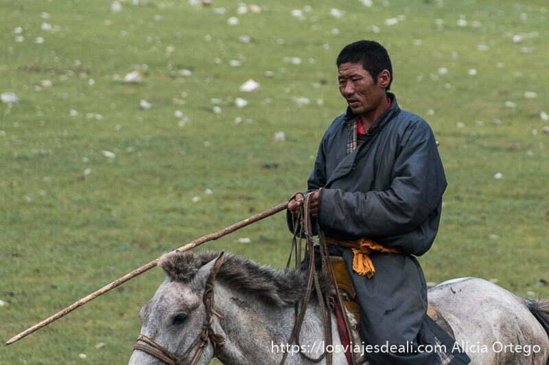 pastor mongol con su deel gris y fajín amarillo sobre su caballo con palo largo para guiar a sus vacas en el valle de orkhon