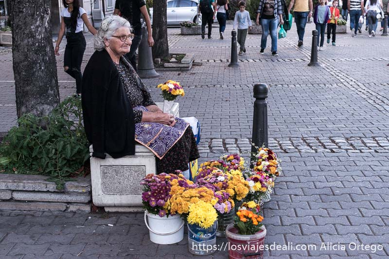 señora mayor sentada en banco de piedra vendiendo flores