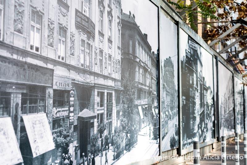 carteles con grandes fotos en blanco y negro de las calles de sofía a principios del siglo xx