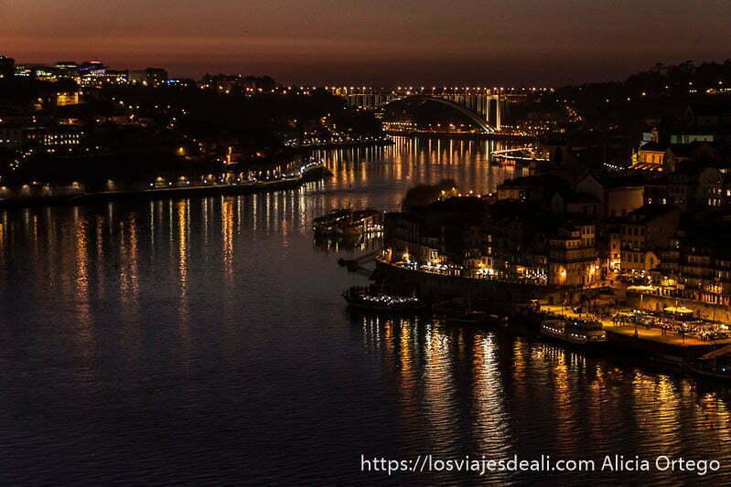 vista del río duero haciendo curva con las luces de oporto reflejándose en el agua al anochecer