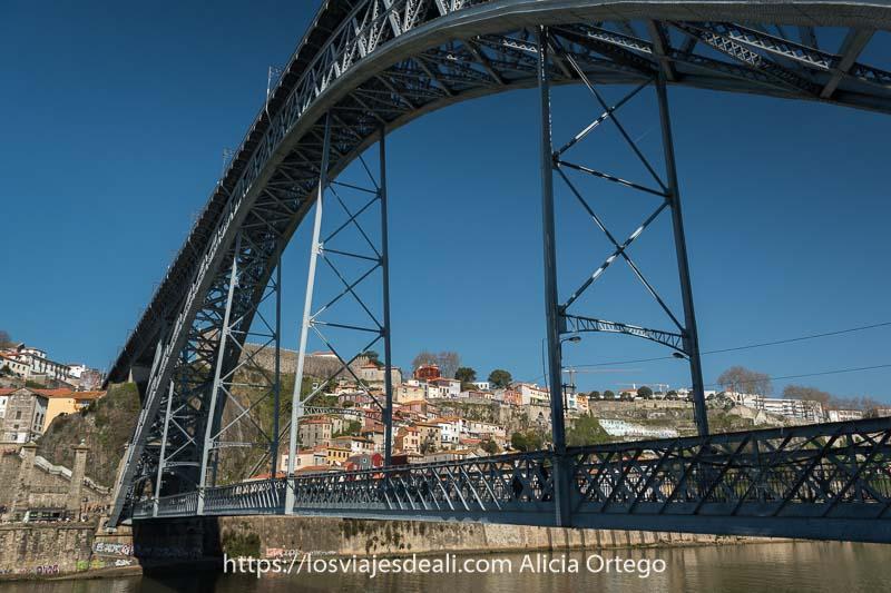 vista del puente luis I desde abajo con cielo muy azul lugares que ver en oporto