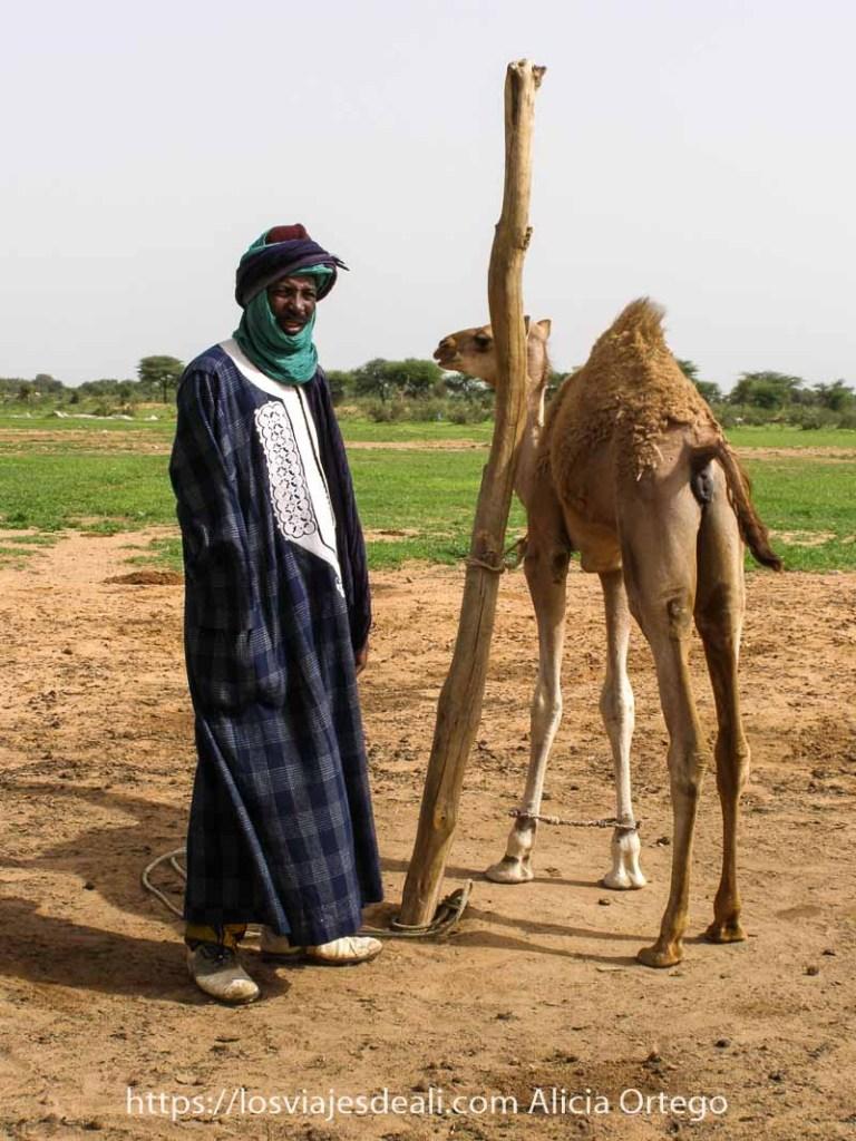 hombre con chilaba larga y turbante en la cabeza junto a cría de camello atada a un poste