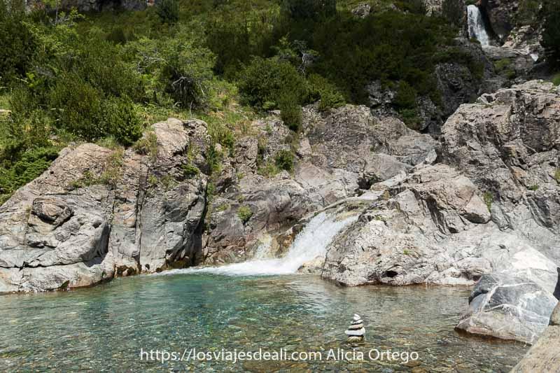 poza de la cascada de la larri con agua de color verde turquesa