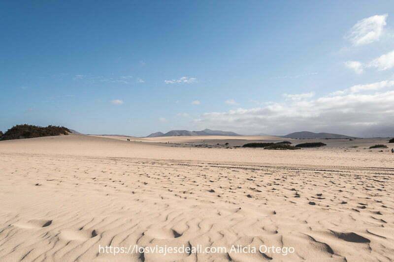 dunas de corralejo y volcanes al fondo con algunas nubes proyectando sombras