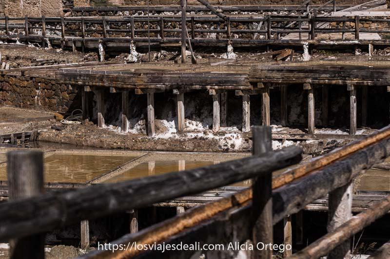 instalaciones de las salinas de añana con canales y postes de madera