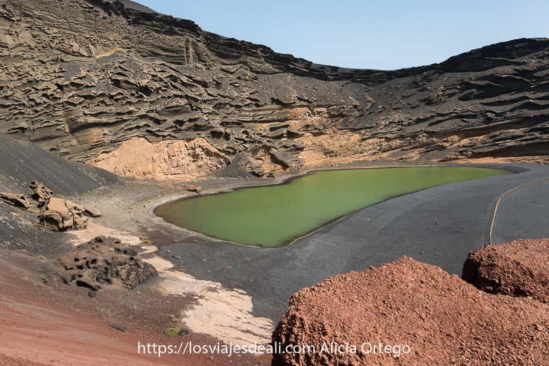 lago verde en paisaje volcánico de colores negros, grises, amarillos y rojos