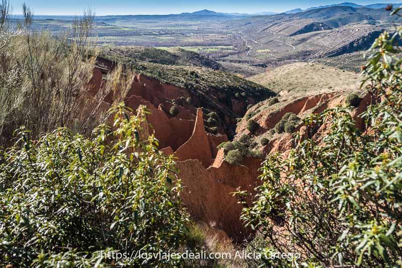 vista de las cárcavas entre jaras y al fondo campos y montañas