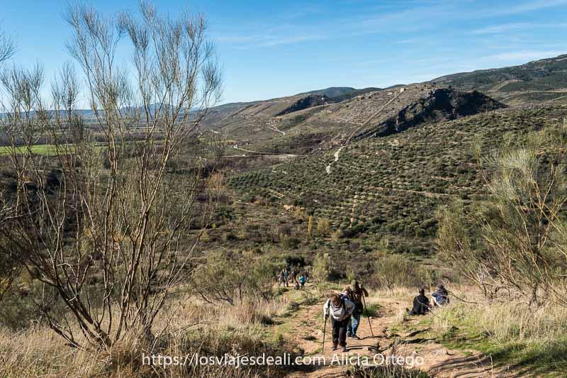 gente subiendo por el camino empinado con el paisaje de olivares y montañas detrás