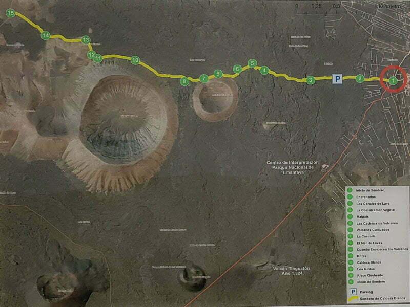 plano de la ruta de caldera blanca para hacer senderismo en lanzarote