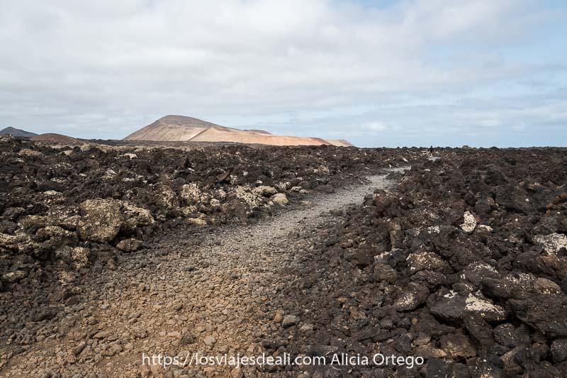 camino de la caldera blanca entre campos de lava practicando senderismo en lanzarote
