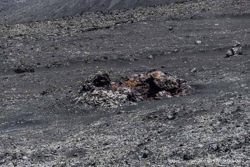 pequeño cráter de lava en un campo lávico de color gris