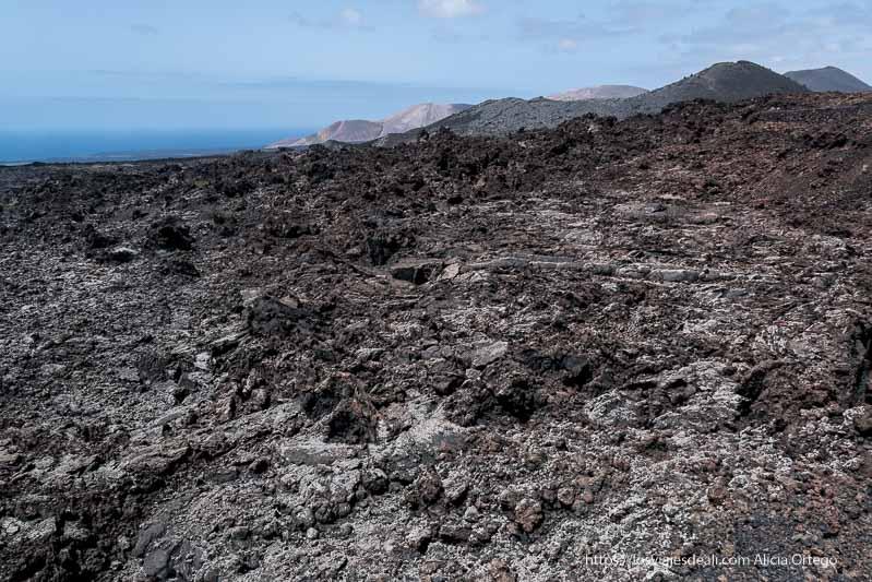 paisaje de lavas retorcidas de color blanquecino por los líquenes