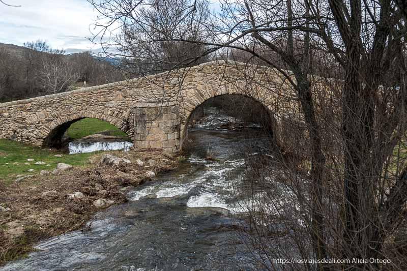 puente medieval de canencia con el arroyo y árboles sin hojas
