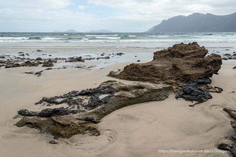 rocas volcánicas saliendo de la arena en la caleta de famara con riscos al fondo