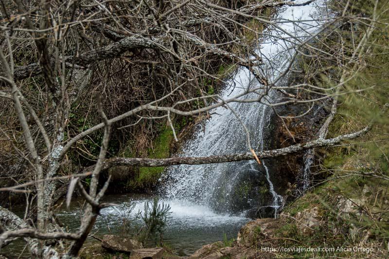parte inferior de la cascada cancho del litero con poza de agua