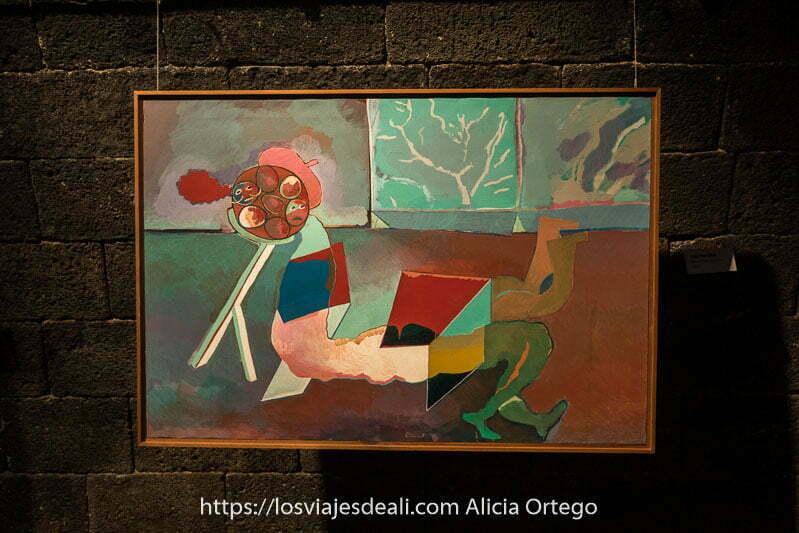 cuadro de miró con figura abstracta que parecen dos personas tumbadas y muchos colores