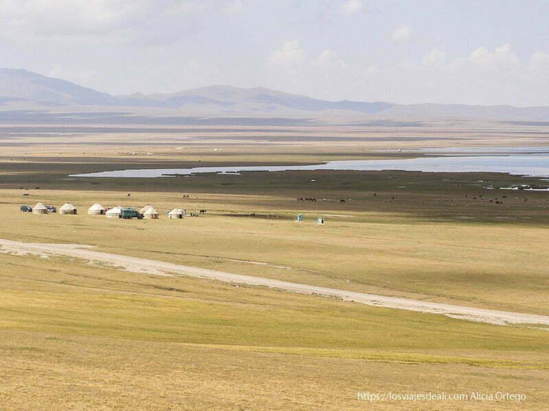 paisaje del lago song kol con grandes praderas y yurtas blancas en la ruta de la seda