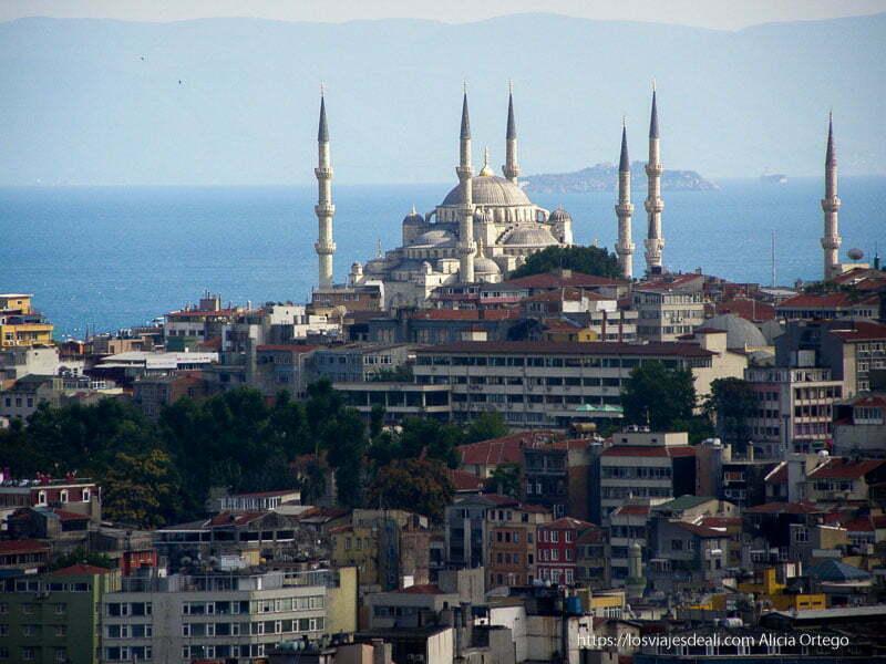 Panorámica de mezquita de Estambul rodeada de casas y detrás el bósforo