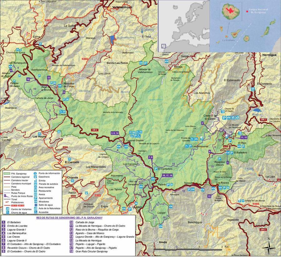 Red de senderos del Parque Nacional de Grajonay
