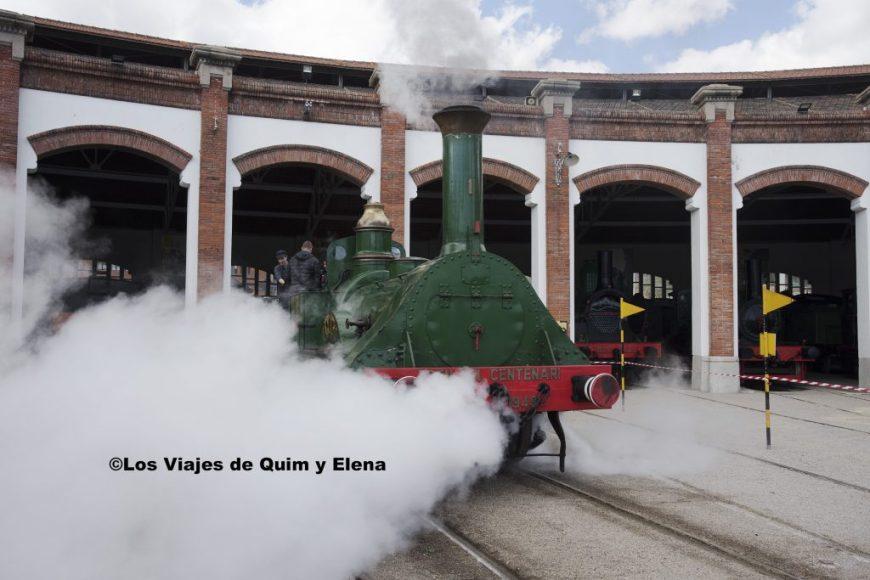 La locomotora Mataró en acción  en el museo del ferrocarril