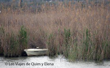 Barca en la desembocadura mientras llueve en el Delta