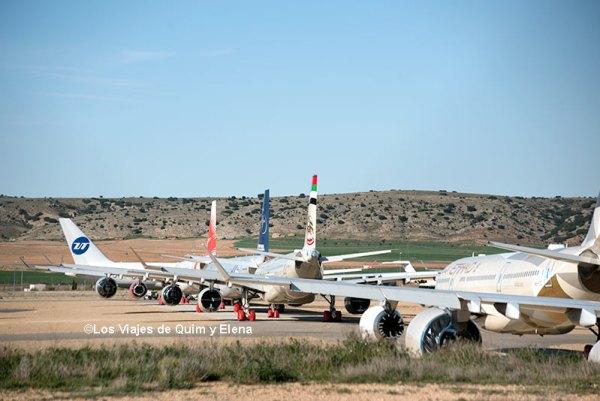 Aviones estacionados en el Aeropuerto de Teruel