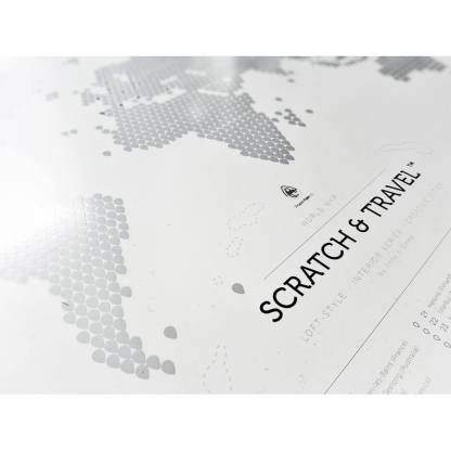 Mapa zdrapka świat Loft White