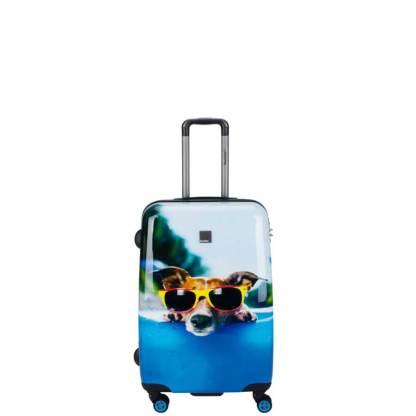 Walizka średnia Saxoline Blue Happy Dog M