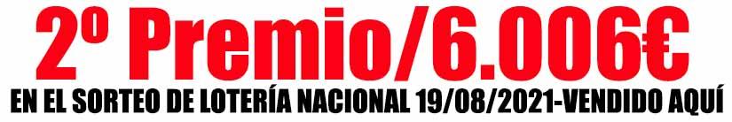 2 PREMIO LOTERIA NACIONAL VENDIDO AQUÍ ADMINISTRACION DE LOTERIAS LA SIETE DE SAN SEBASTIAN
