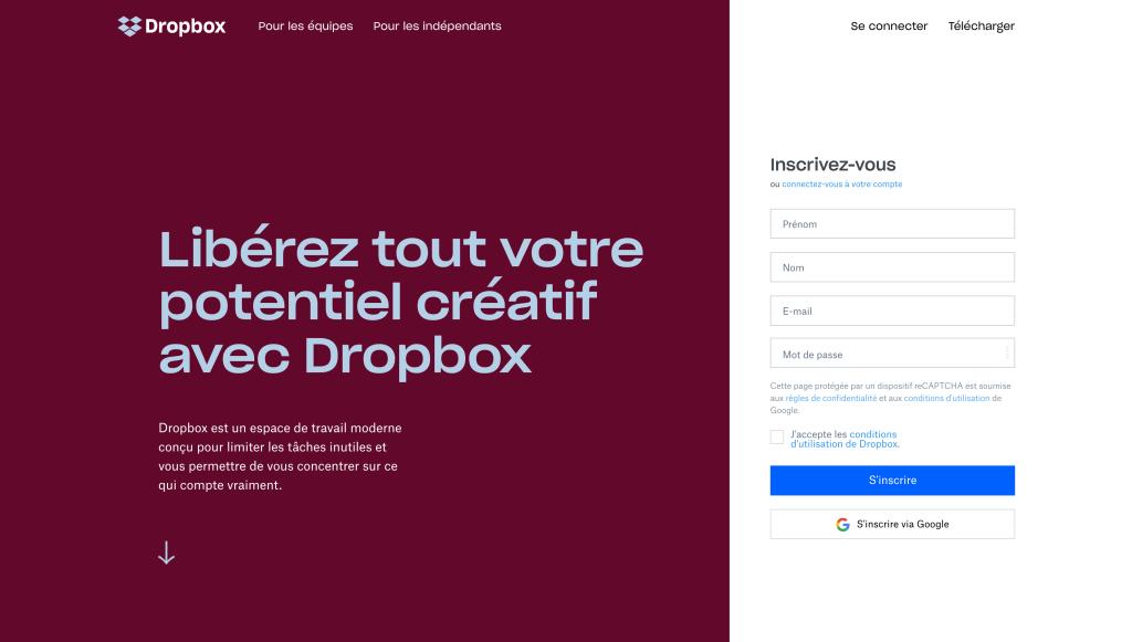 Landing page dropbox