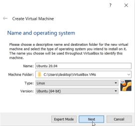 Ubuntu 20.04 on virtual machine