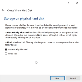 select dynamically allocated disk for virtual box