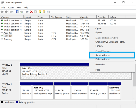 resize windows partition to make space for linux