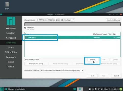 create partitions to install manjaro linux