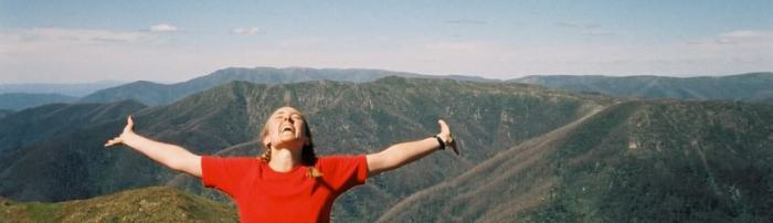 How hiking makes me feel! (Top of Mt Feathertop, Victorian High Country, Australia).