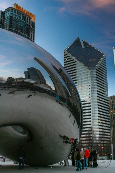 The Bean in Chicago in front of the Crain Communications Building | LotsaSmiles Photography