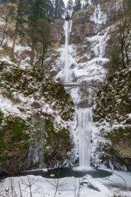 Multnomah Falls frozen in place